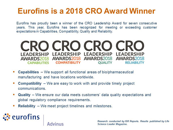 Eurofins is a 2018 CRO Award Winner