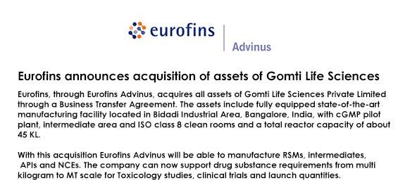 Eurofins announces acquisition of assets of Gomti Life Sciences